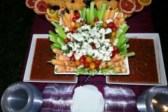 Raw Vegetable Crudité with Salsa & Mozzarella Balls