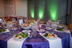 Room set for plated dinner