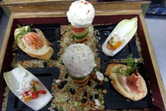 "Goat Cheese ""Ice Cream"" Cones; Smoked Salmon Mousse Crostini; Greek Salad Endive Leaves"