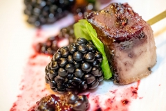 Smoked Pork Belly Satay with Blackberry Gastrique
